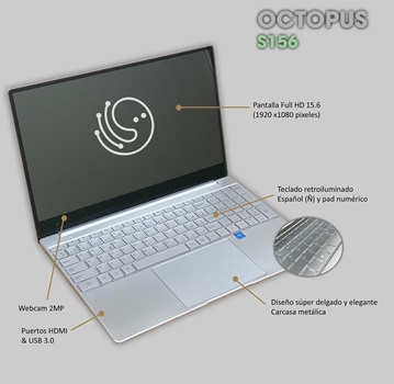Notebook Octopus S156 15 6 Fhd Intel 8gb 512ssd