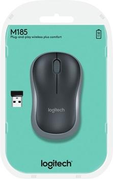 Mouse Inalambrico Logitech M185 Negro Con Gris
